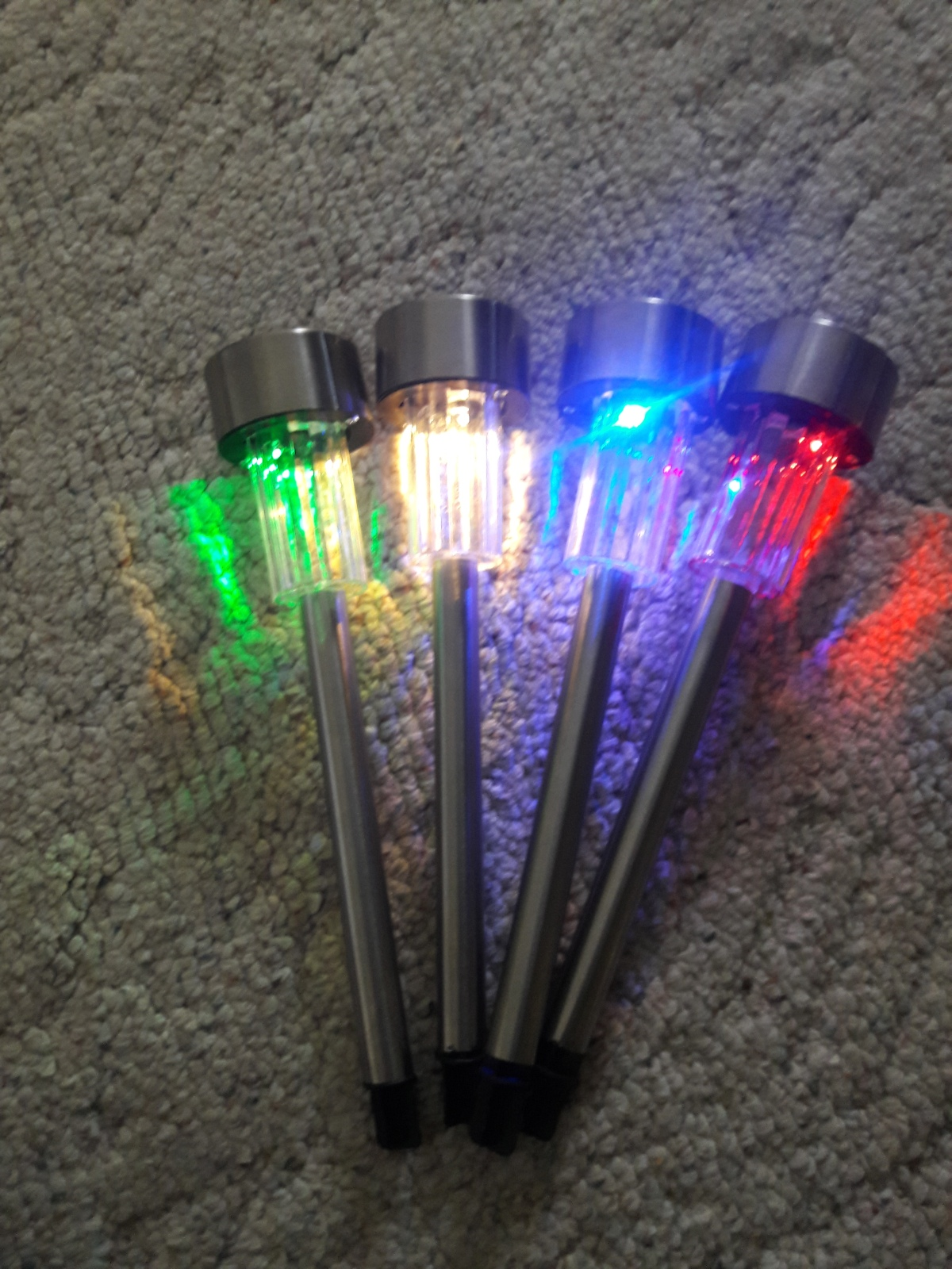 halloween outdoor lighting. the sogrand colored 8 piece led stainless steel solar lights, are so very pretty, and really show up well. i love that you get 2 of each color. halloween outdoor lighting