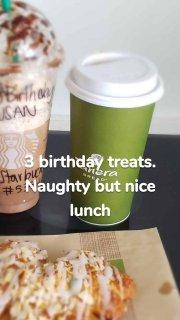 3 birthday treats. Naughty but nice lunch